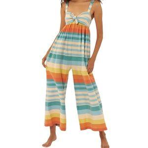 Mara Hoffman Striped Cotton Equator Jumpsuit - M
